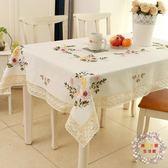 一件85折免運--桌巾餐桌布藝田園歐式棉質麻手繡花小清新現代簡約台布茶幾長方形蓋巾