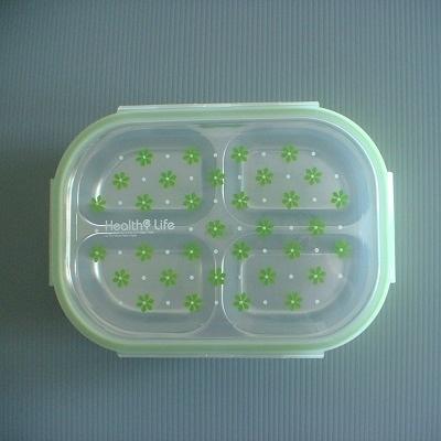 #304不銹鋼四格環保餐盒(粉綠色)/環保餐具組