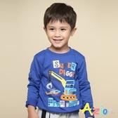 Azio 男童 上衣 超級挖土機英文印花長袖T恤(藍) Azio Kids 美國派 童裝