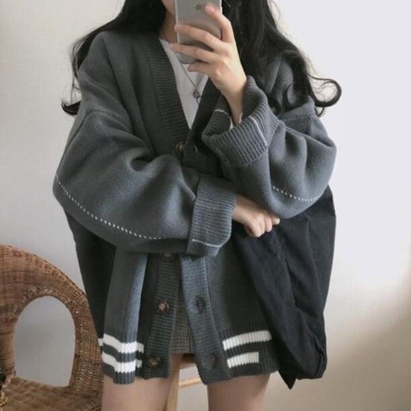 針織外套 韓系寬鬆百搭V領毛衣外套 花漾小姐【現貨】