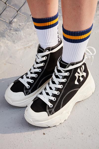 IMPACT MLB HyunA's Pick Chunky Shoes 黑 洋基 高筒 增高 泫雅 32SHU1011