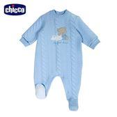 chicco-寶貝熊系列-夾棉後開兔裝-藍