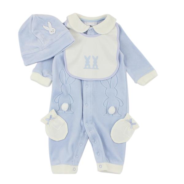 【愛的世界】剪絨長袖衣連褲禮盒-藍/3~6M-台灣製- ---禮盒推薦
