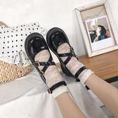 英倫百搭學生平底圓頭單鞋女洛麗塔lolita小皮鞋娃娃鞋  極有家