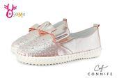 CONNIFE 水鑽休閒鞋 女童 蝴蝶結金屬光澤懶人鞋 K7525#粉紅◆OSOME奧森童鞋