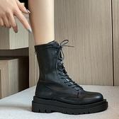 中筒靴女 馬丁靴女英倫風新款韓版網紅百搭粗跟厚底時尚休閒短筒騎士靴