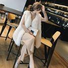 仿狐貍毛皮草馬甲女2018秋冬新款海寧水...