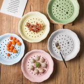 陶瓷餃子盤大號圓形瀝水雙層蒸餃盤骨瓷水餃托盤10英寸陶瓷家用盤CY『韓女王』