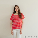 【GIORDANO】女裝小方領上衣- 94 紅白條紋