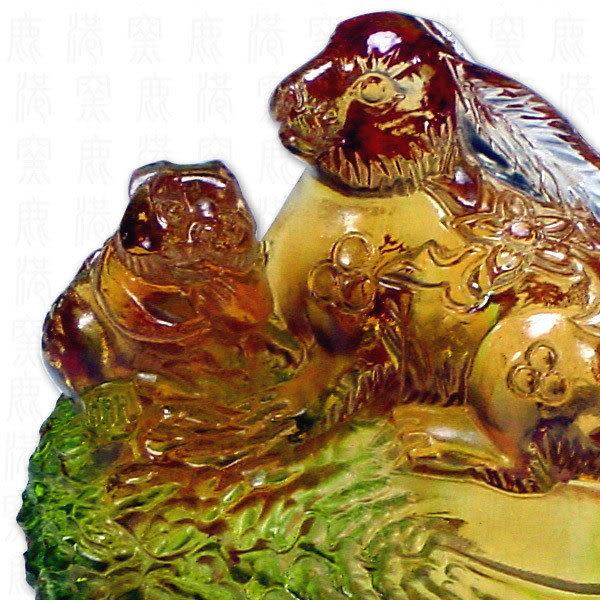 鹿港窯-居家開運商品-琉璃SS十二生肖文鎮-兔-附精美包裝◆免運費送到家