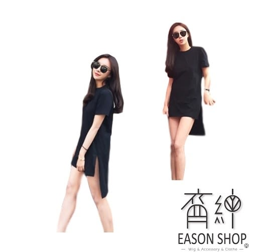 EASON SHOP(GU0463)前短後長長款純色修身圓領短袖t恤棉T女潮 歐美范中長款y院領夏裝女上衣