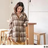 《EA2625》毛呢韓式格紋翻領大衣外套 OrangeBear