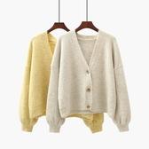 燈籠袖V領毛衣開衫女2019秋季新款寬鬆學生上衣短款針織衫小外套 嬌糖小屋