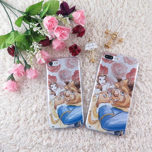 Disney迪士尼iPhone 8 Plus /iPhone 7 Plus(5.5吋)防摔氣墊空壓保護套-美女與野獸