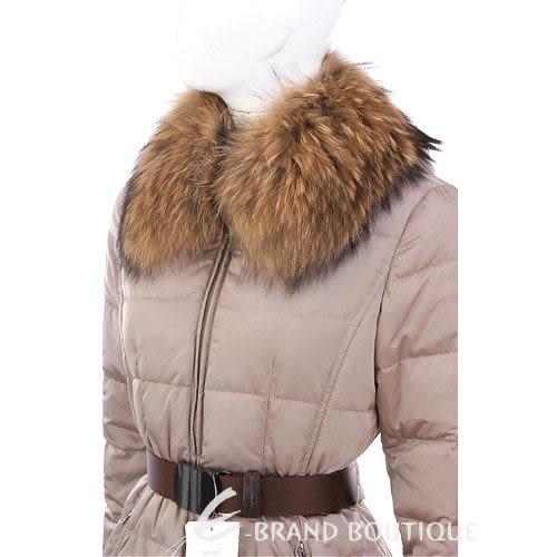 MARELLA 卡其色毛領車縫線防風外套(附腰帶) 1240302-28