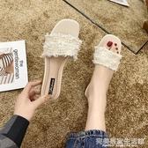 高跟拖鞋女外穿新款夏季時尚百搭粗跟中跟珍珠帶跟網紅涼拖鞋 完美居家生活館