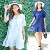 限時38折 韓國學院風蝴蝶結荷葉邊氣質領結短袖洋裝