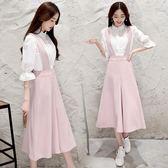 背帶闊腿褲套裝女 新款韓國寬鬆高腰顯瘦學生百搭連體褲裙 優惠兩天