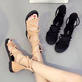 涼鞋女夏季正韓百搭露趾交叉綁帶平底涼靴學生軟妹羅馬鞋 優樂居生活館