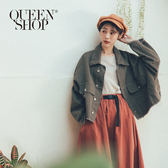 Queen Shop【02071154】不修邊排釦造型短版外套 兩色售*現+預*