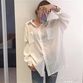 防曬襯衫女韓版中長款寬鬆薄透視棉麻上衣夏季bf白色長袖襯衣外套 果果新品