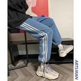 休閒長褲運動褲子秋冬季韓版百搭寬鬆藍色條紋衛褲潮【雙十一狂歡】