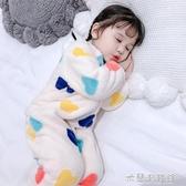 兒童連體睡衣 女童連體睡衣秋冬季珊瑚絨法蘭絨一歲女寶寶嬰兒童加厚加絨家居服 遇見初晴