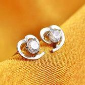 耳環 925純銀鑲鑽-氣質心型生日情人節禮物女飾品2色73gk4【時尚巴黎】