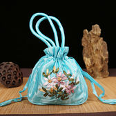 中國風手提絲帶繡花抽帶包手拎抽繩包收納袋錦囊出國送老外小禮品