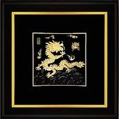 金箔畫 黃金畫純金 ~【祥龍獻瑞(左幅)】登峰造極純金龍外徑 68 x 68 cm
