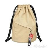 帆布束口袋健身大容量抽繩後背包學生書包女新款背包男旅行運動包 黛尼時尚精品