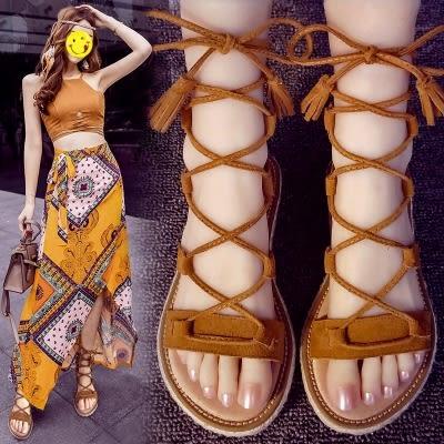 平底系帶百搭綁帶羅馬鞋