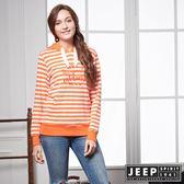 【JEEP】女裝 美式休閒條紋長袖帽TEE (橘)