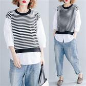 大碼女裝夏裝胖妹妹t恤洋氣減齡寬鬆文藝條紋假兩件短袖上衣新款
