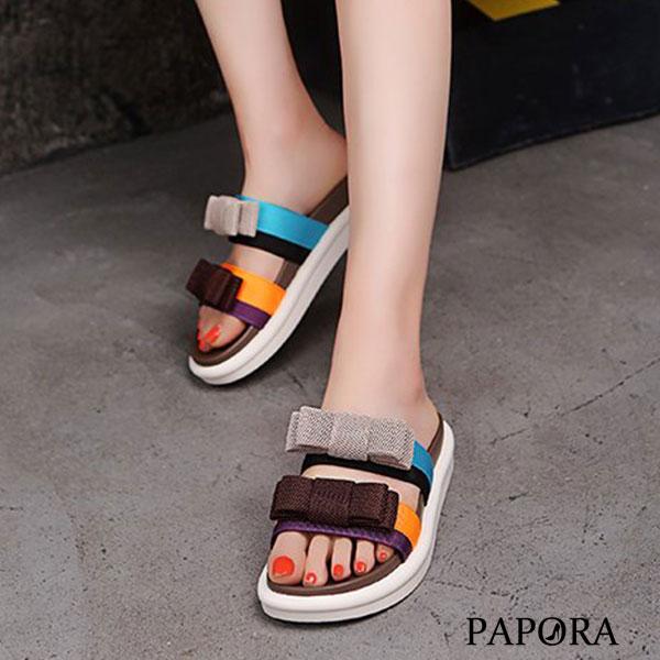 PAPORA彩色雙版平底休閒涼拖鞋KK1389