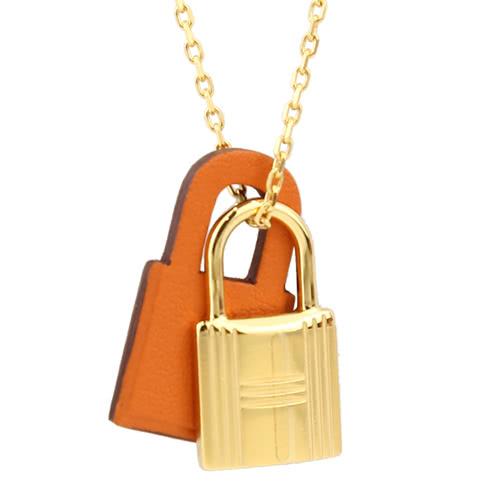 HERMES KELLY 鎖頭皮革金屬雙墬飾兩段式項鍊(金/橘)
