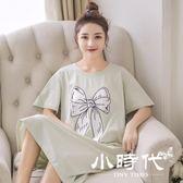 睡衣 女夏時尚少女夏季寬鬆可愛中裙夏天卡通短袖卡通外穿睡裙