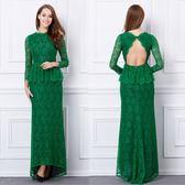 禮服  蕾絲露背魚尾長袖長版氣質優雅晚禮服  4-12碼(可訂製) #jh486 ❤卡樂❤