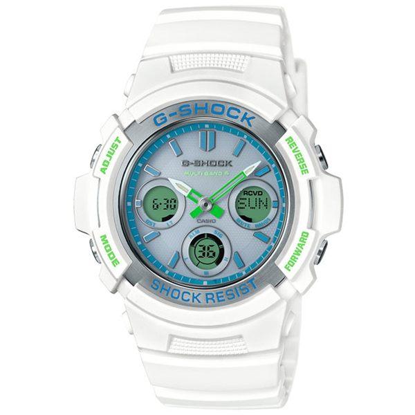 CASIO卡西歐G-SHOCK夏天白綠配色太陽能運動錶 AWG-M100SWG-7A