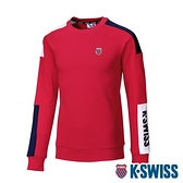 K-SWISS Colors Panel Sweatshirt圓領長袖上衣-女-紅/藍/白