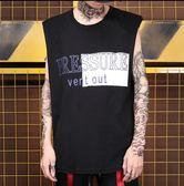 夏季潮牌男士坎肩背心 嘻哈街舞健身運動滑板寬鬆無袖打底衫T恤【潮咖地帶】