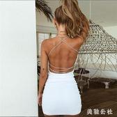 歐美爆款裙子修身百搭吊帶綁帶露背洋裝顯身材夏季連身裙CC3421『美鞋公社』
