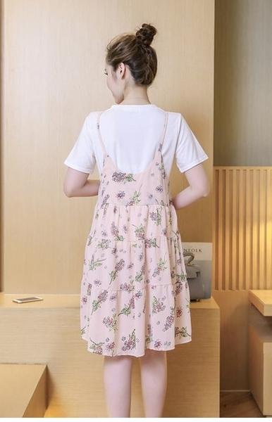 漂亮小媽咪 細肩帶吊帶裙 【D6060】 碎花 細肩帶 雪紡 傘狀 吊帶裙 背心裙洋裝 孕婦裝