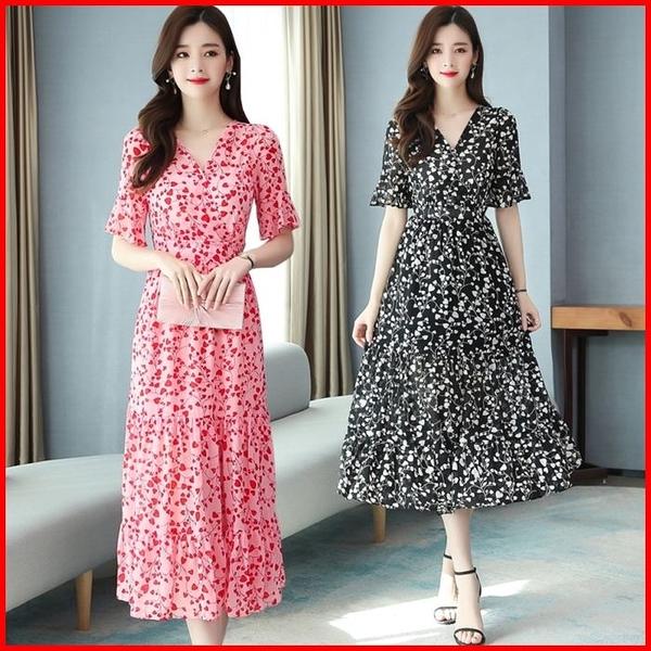 韓國風短袖洋裝 連衣裙雪紡森系長裙甜美收腰顯瘦氣質連身裙 依多多