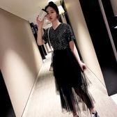 海外直發不退換禮服洋裝法式9976# 加大碼女裝網紅V領亮片拼接不規則蛋糕網紗連衣裙(M3F 特1-A)