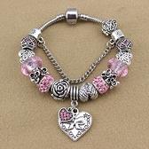 串珠手鍊-水晶飾品愛心吊墜粉色甜美女配件73kc376【時尚巴黎】