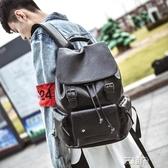 後背包男韓版皮質時尚個性休閒潮流背包學生大書包男士旅行英倫包