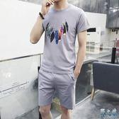 2019新款大碼短袖t恤兩件套男夏季休閒跑步運動套裝短褲港風帥氣兩件式褲裝LXY3106【野之旅】