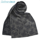 Vivienne Westwood雙色滿版草寫星球圖樣圍巾(灰/深藍色)910535-1