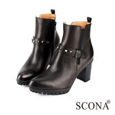 SCONA 全真皮 率性釘扣環帶高跟短靴 黑色 8778-1